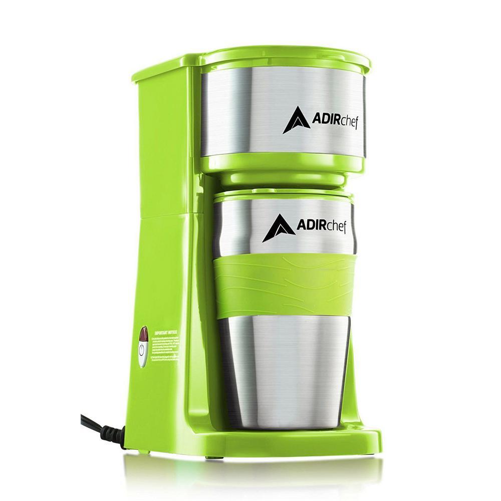 AdirChef Grab'n Go Sour Green Single Serve Coffee Maker with Stainless Steel Travel Mug