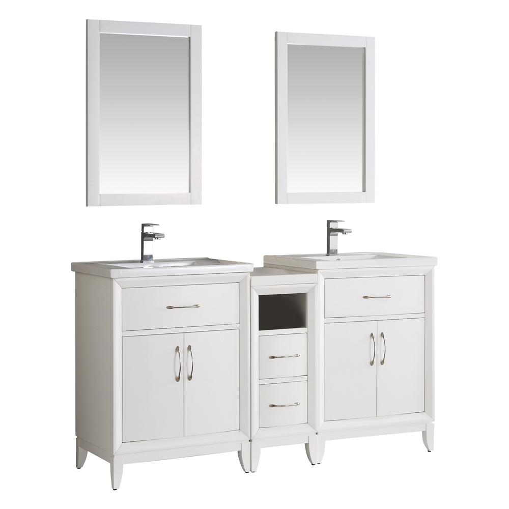 Cambridge 60 in. Vanity in White with Porcelain Vanity Top in