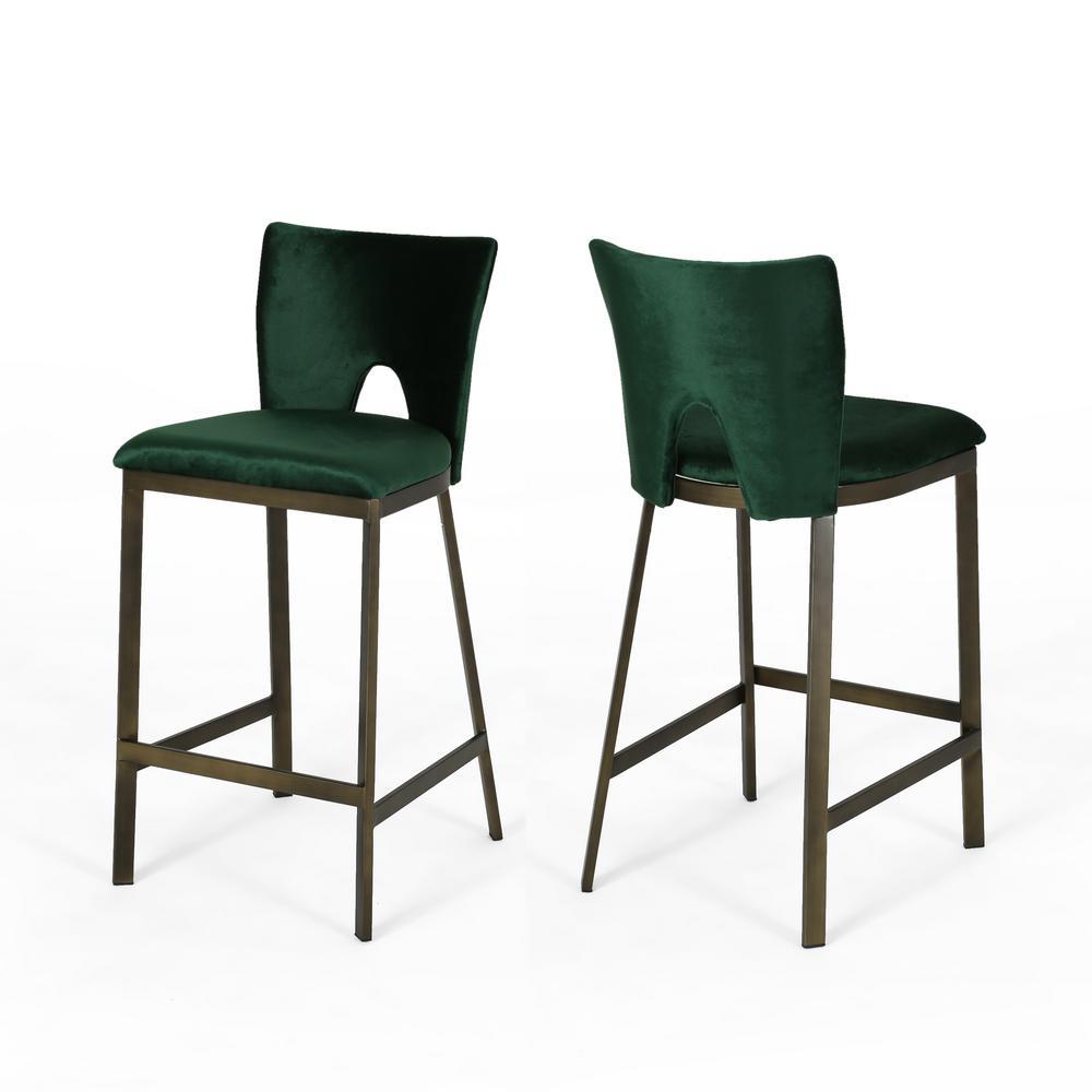 Whittier Emerald Velvet Counterstools