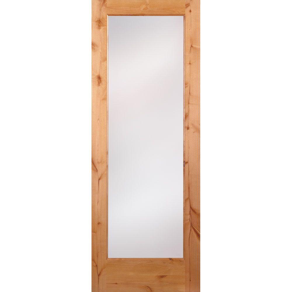 32 in. x 80 in. 1 Lite Unfinished Knotty Alder Privacy Woodgrain Interior Door Slab