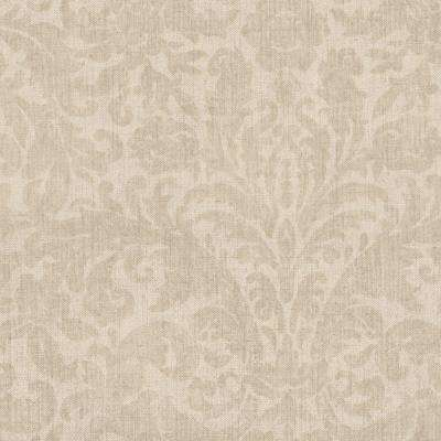 Twill Beige Damask Wallpaper