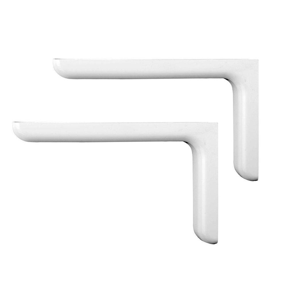 Knape & Vogt Vinyl-Finished 7-1/4 in. White Designer Steel Decorative Shelf Brackets (2-Pack)
