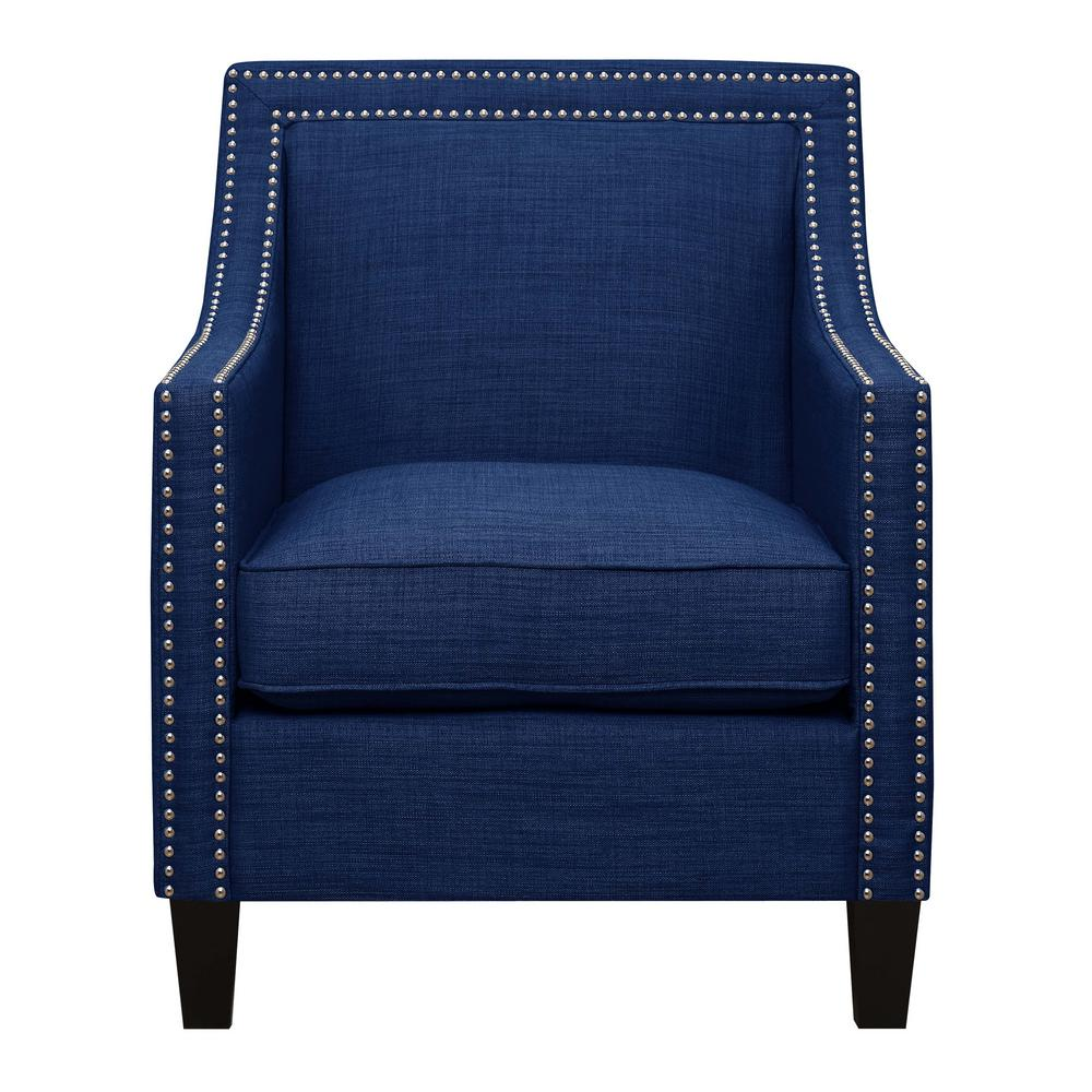 Emery Blue Arm Chair and Ottoman