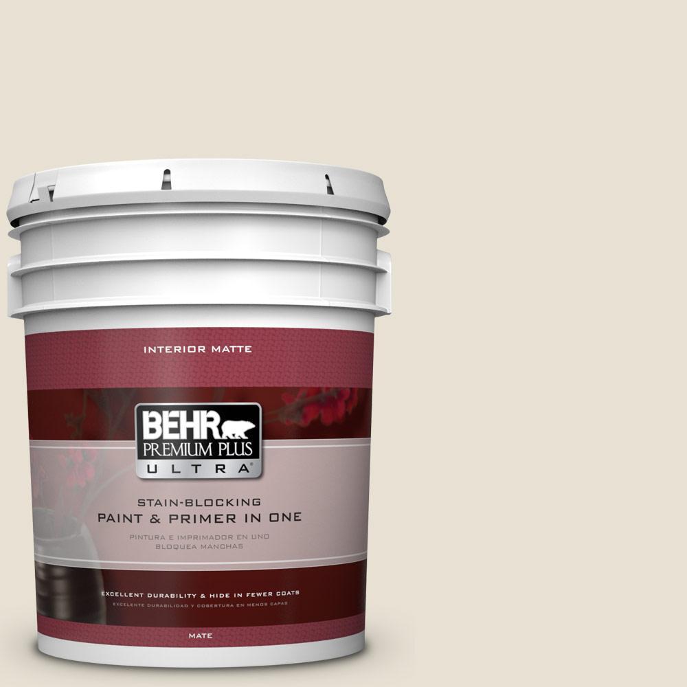 BEHR Premium Plus Ultra 5 gal. #73 Off White Matte Interior Paint