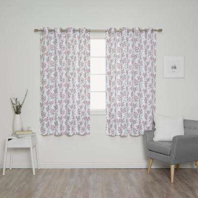 Hibiscus Blossom 52 in. W x 63 in. L Curtains in White (2-Pack)