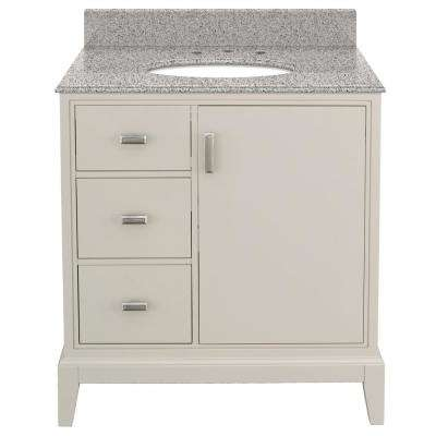 Shaelyn 31 in. W x 22 in. D Bath Vanity in Rainy Day LH with Granite Vanity Top in Napoli with White Basin