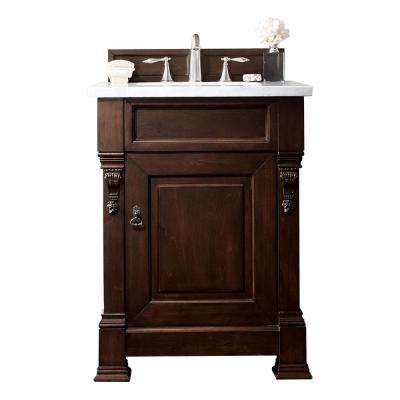 Brookfield 26 in. W Single Bath Vanity in Burnished Mahogany with Marble Vanity Top in Carrara White with White Basin