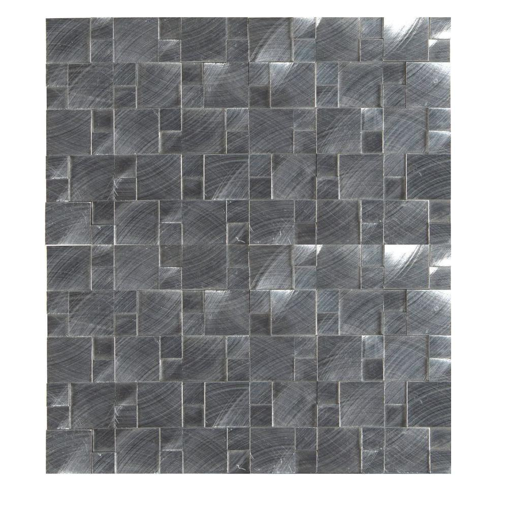 Ms international silver aluminum pattern 12 in x 12 in x 8 mm ms international silver aluminum pattern 12 in x 12 in x 8 mm brushed metal mesh mounted mosaic tile met slval the home depot dailygadgetfo Choice Image