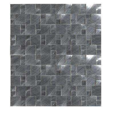 Silver Aluminum Pattern 12 in. x 12 in. x 8 mm Brushed Metal Mesh-Mounted Mosaic Tile
