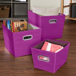 Honey-Can-Do 18.5 inch x 12.9 inch Purple Nested Canvas Bin Set (3-Pack) by Honey-Can-Do