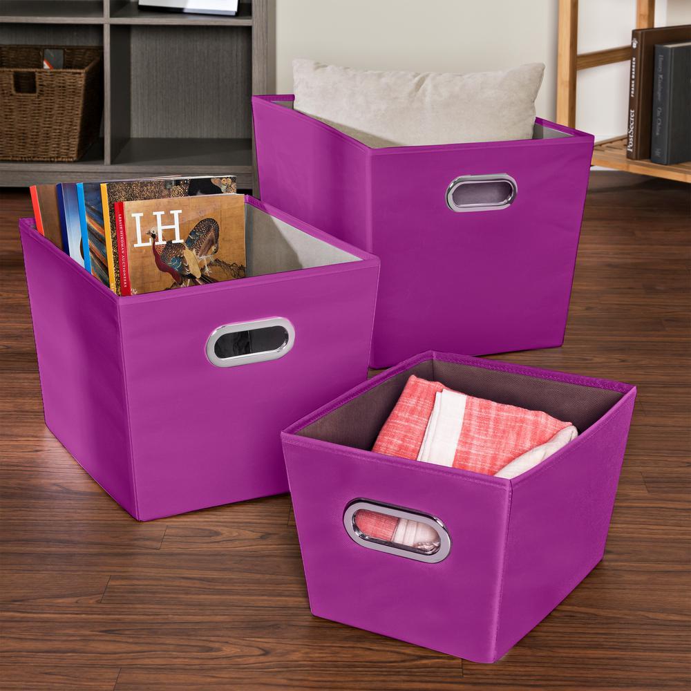 18.5 in. x 12.9 in. Purple Nested Canvas Bin Set (3-Pack)