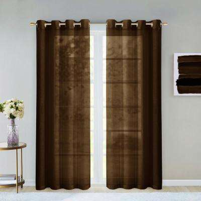 Malibu 55 in. W x 84 in. L Extra Wide Semi-Sheer Window Panel Pair in Chocolate (2-Pack)