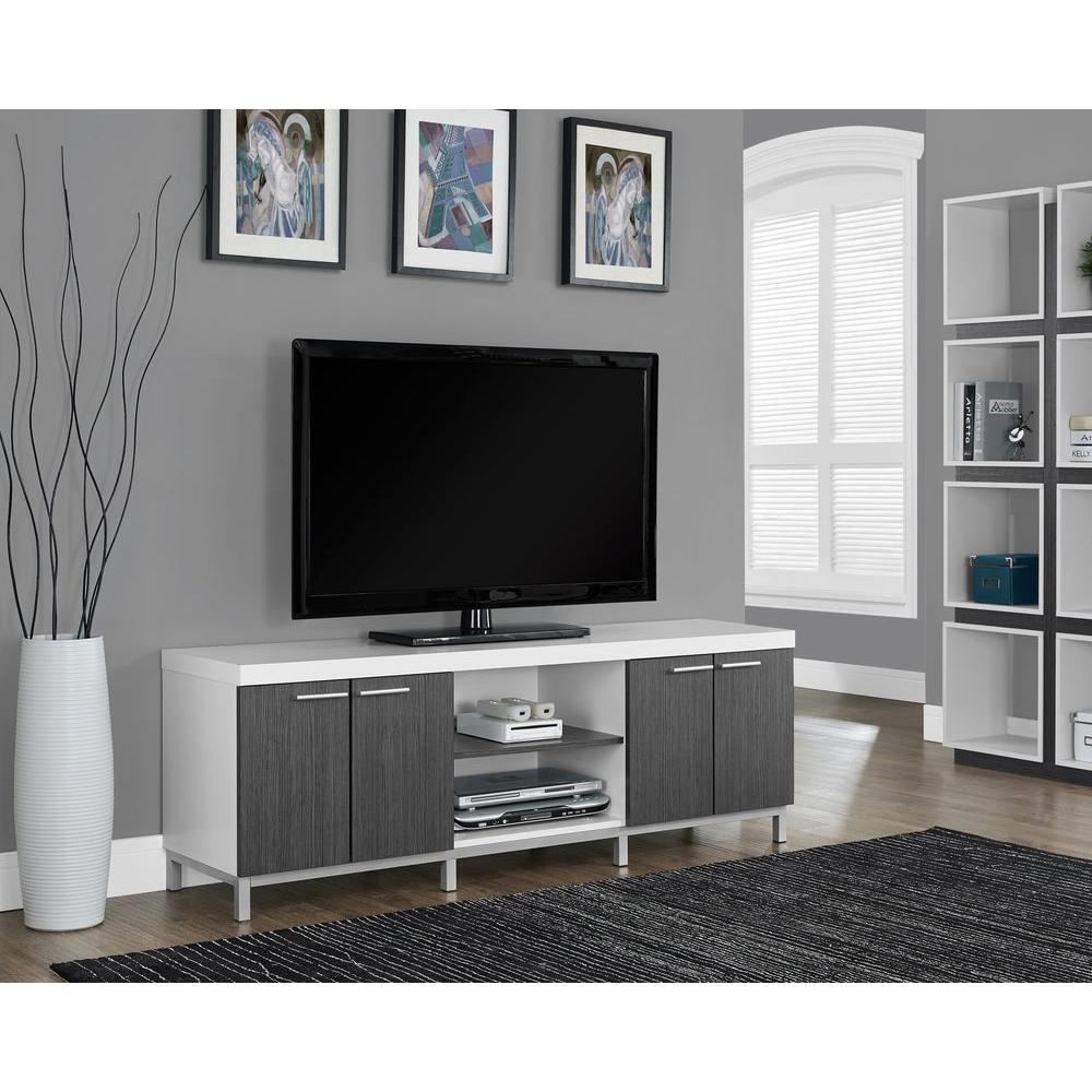 Monarch Specialties Hollow Core White And Grey Storage Entertainment Center
