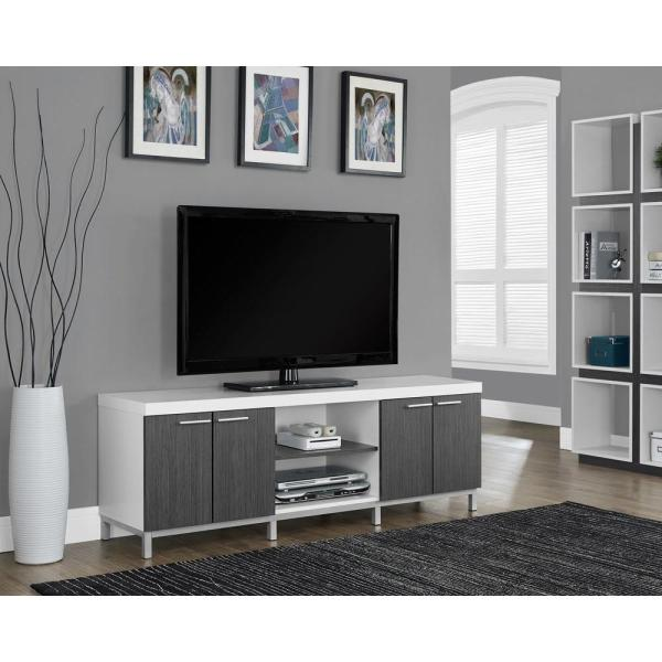 Monarch Specialties Hollow Core White and Grey Storage Entertainment Center I