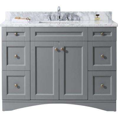 Elise 49 in. W Bath Vanity in Gray with Marble Vanity Top in White with Square Basin