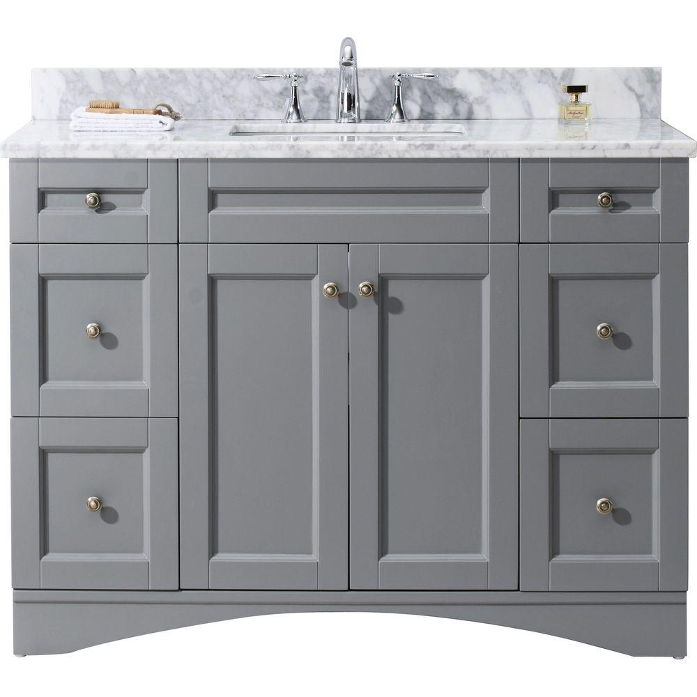 Virtu USA Elise 48 In. W X 22 In. D Vanity In Grey With Marble Vanity Top In White With White