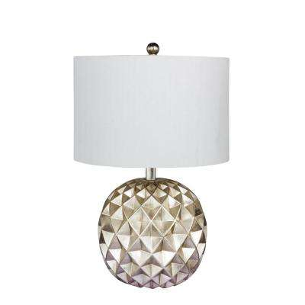 19.5 in. Paper Lantern Fold Resin Table Lamp in a Silver Foil