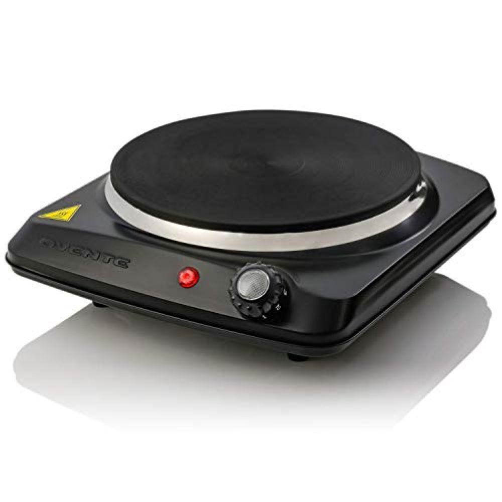 Single Burner, 7 in. 1000-Watts Black Hot Plate, Adjustable Temperature Control, Indicator Light, Rubber Feet