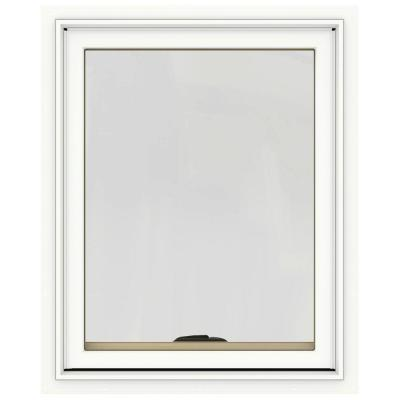 24 in. x 30 in. W-2500 Series White Painted Clad Wood Awning Window w/ Natural Interior and Screen