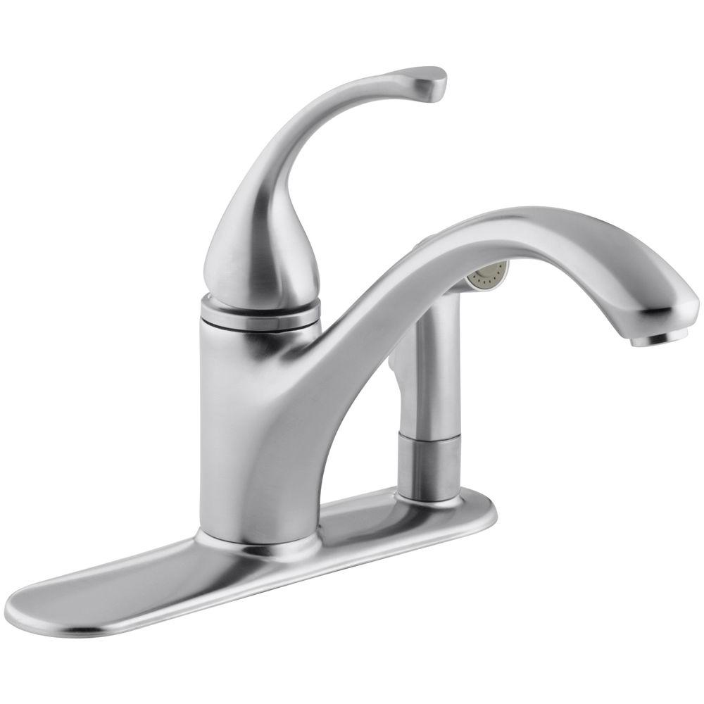 KOHLER Forte Single-Handle Standard Kitchen Faucet with Side Sprayer in Brushed Chrome