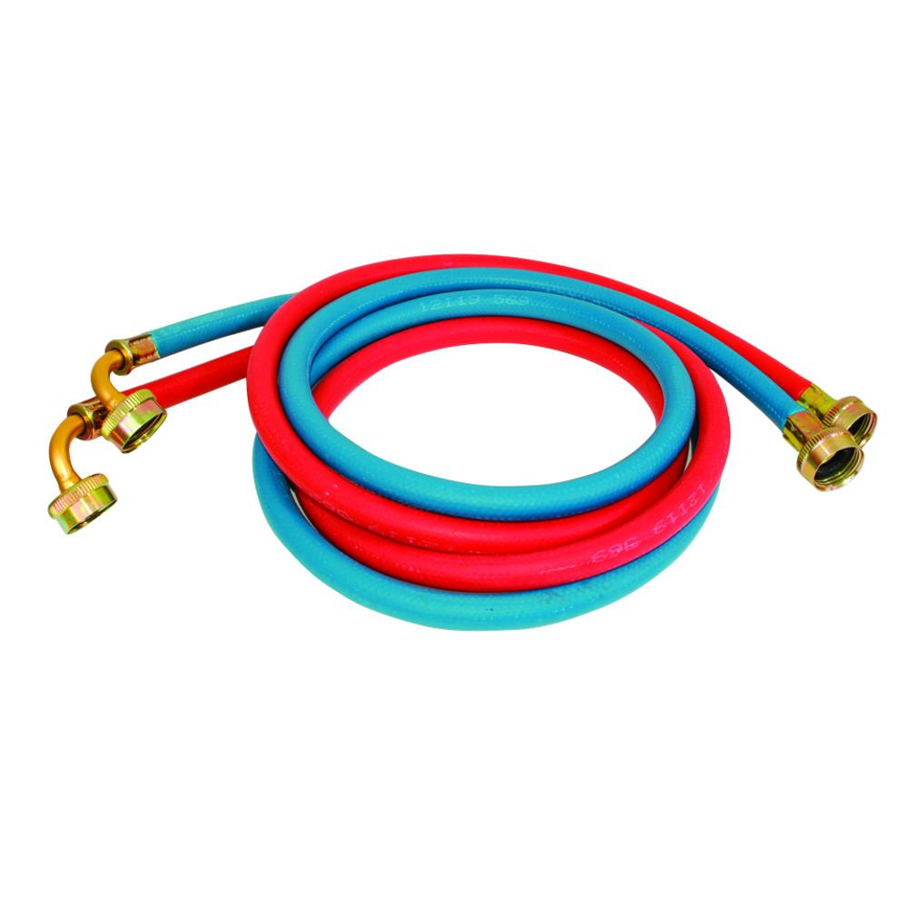 3/4 in. x 3/4 in. x 6 ft. Rubber Washing Machine Hose with Elbows (2-Pack)