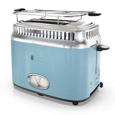 Retro Style 2-Slice Heavenly Blue and Stainless-Steel Toaster