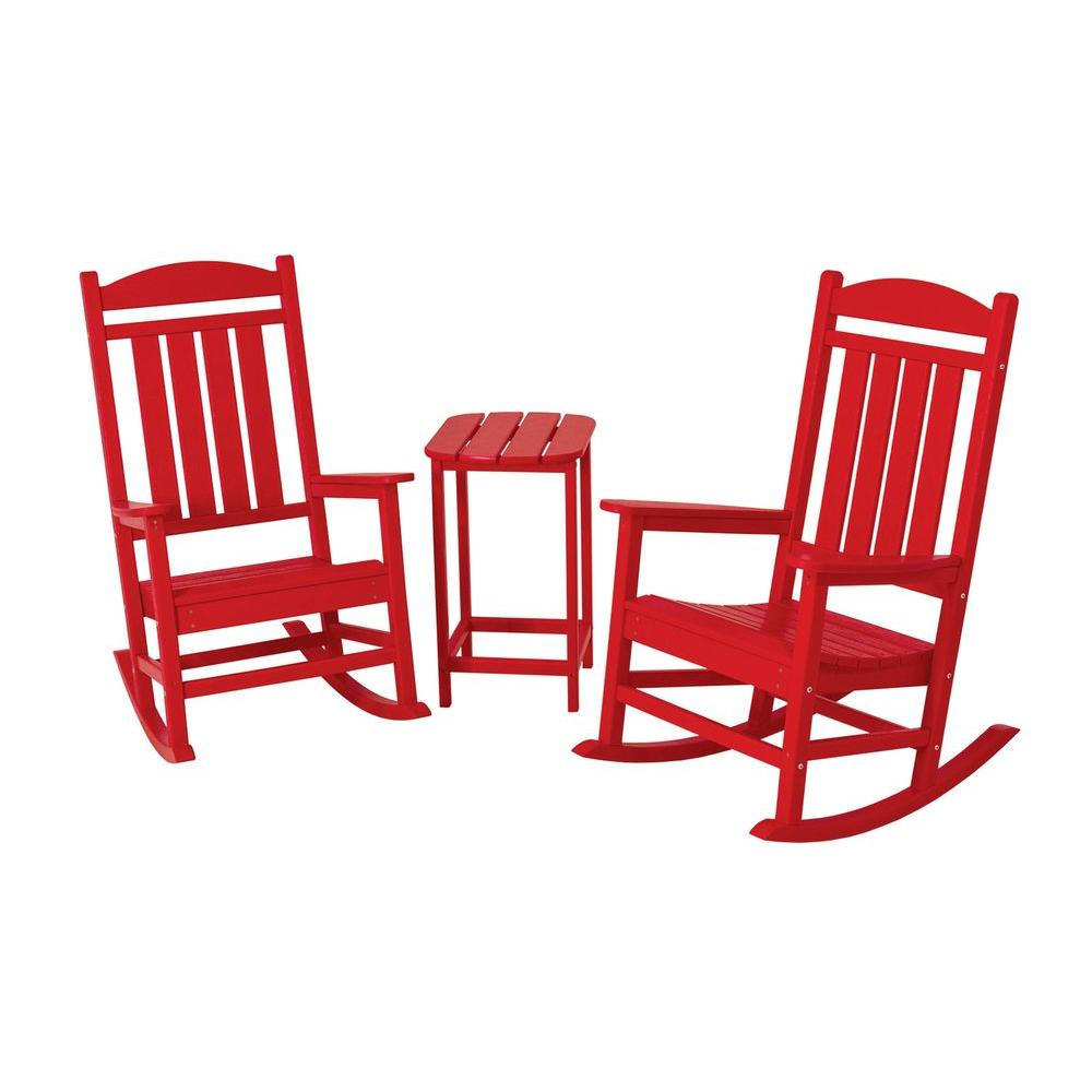 POLYWOOD Presidential Sunset Red 3-Piece Patio Rocker Set