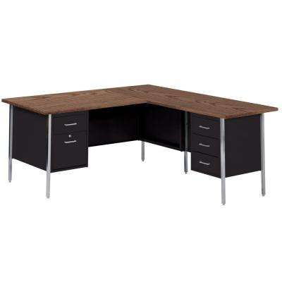 29.5 in. H x 66 in. W x 30 in. D 500 Series L-Shaped Steel Desk in Black/Walnut