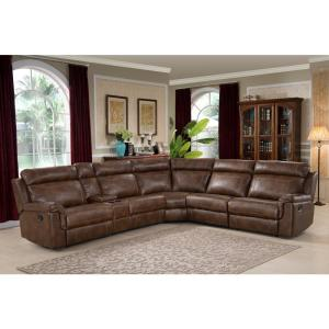 AC Pacific Clark 6-Piece Brown Upholstered Reclining Living ...