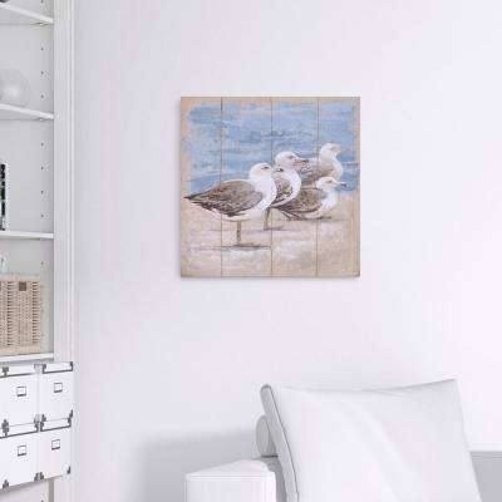 Seagulls Await Coastal Canvas Wall Art