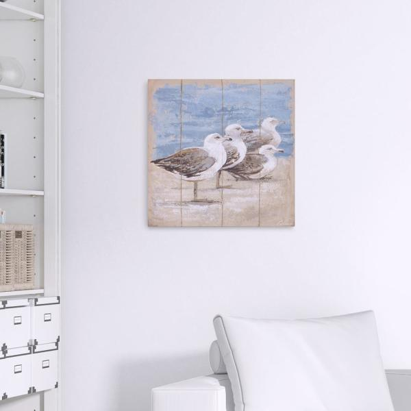 Pinnacle Seagulls Await Coastal Canvas Wall Art