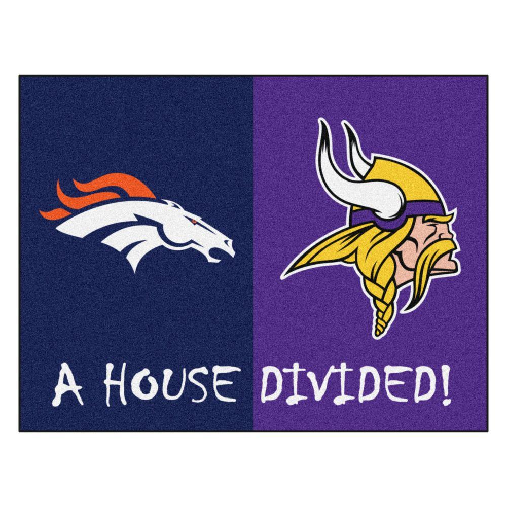 Fanmats Nfl Broncos Vikings Navy House Divided 2 Ft 10