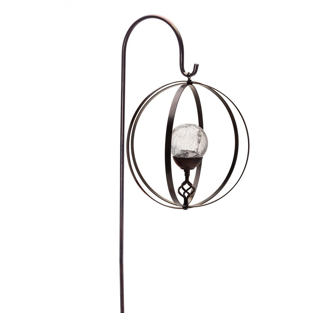 36 in. Integrated LED Hanging Solar Shepherd Hook Sphere Light
