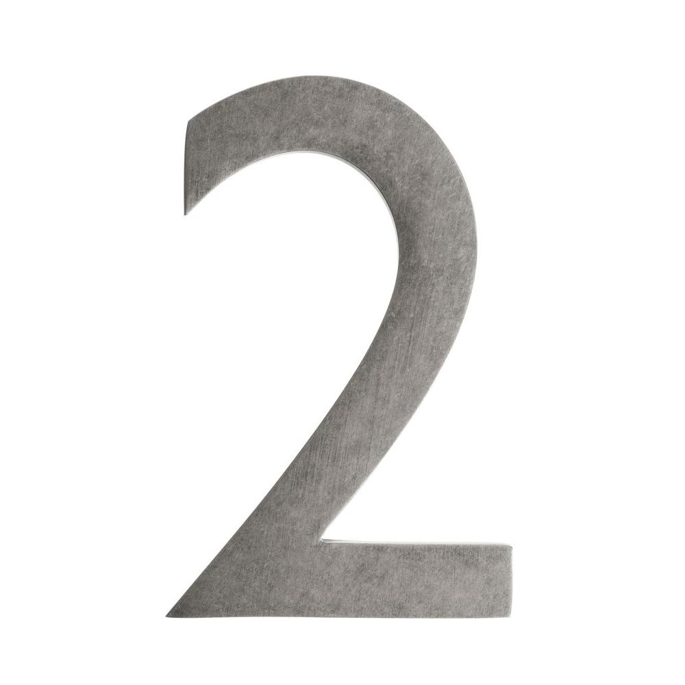 5 in. Antique Pewter Floating House Number 2