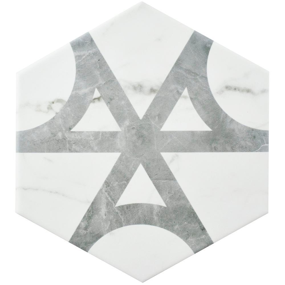 Classico Carrara Hexagon Flow 7 in. x 8 in. Porcelain Floor