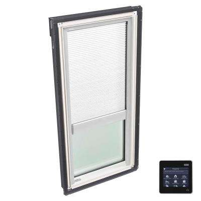 14-1/2 in. x 45-3/4 in. Fixed Deck-Mount Skylight with Tempered Low-E3 Glass, White Solar Powered Room Darkening Blind