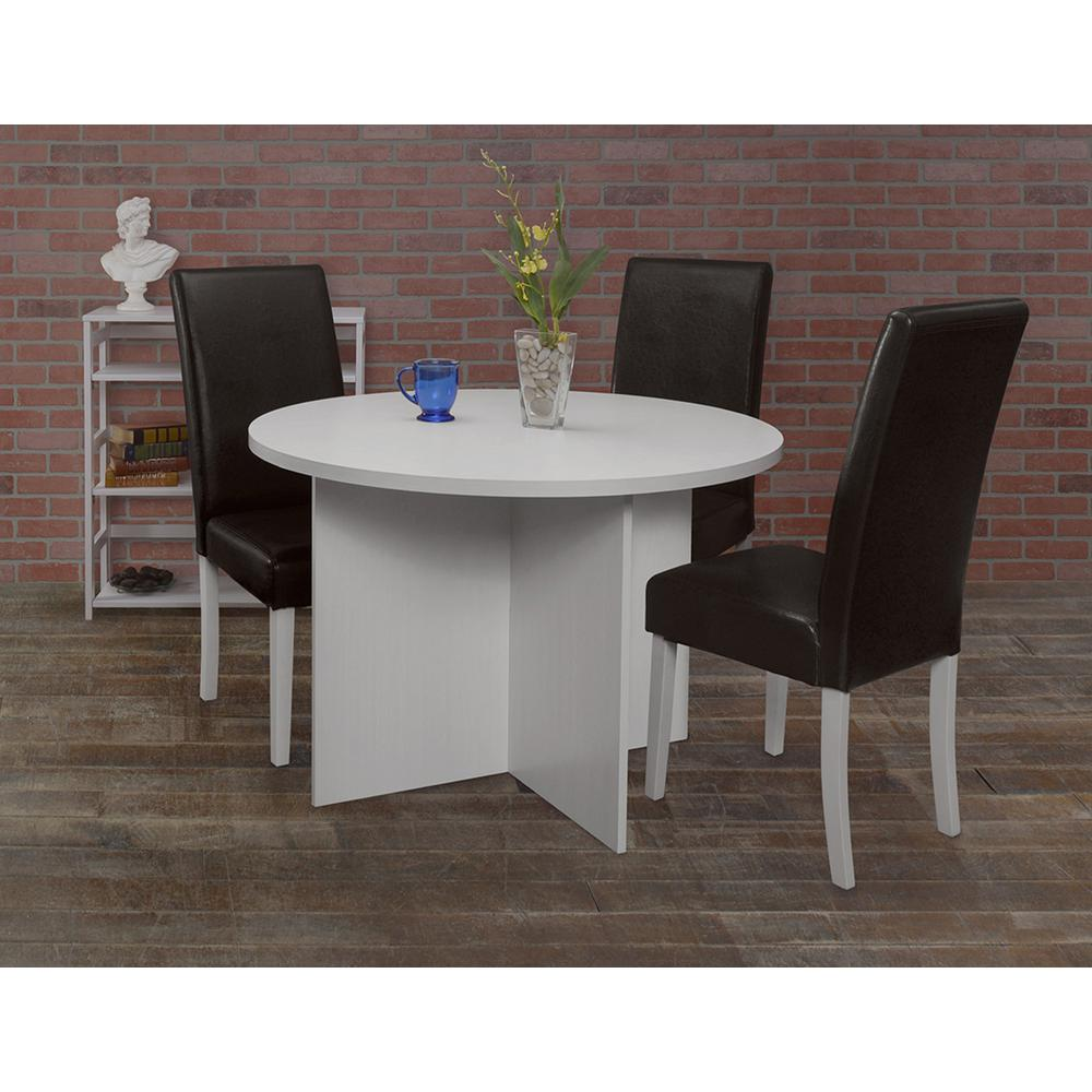 Mod White Wood Grain 42 In Round Table Nrt4229wh The