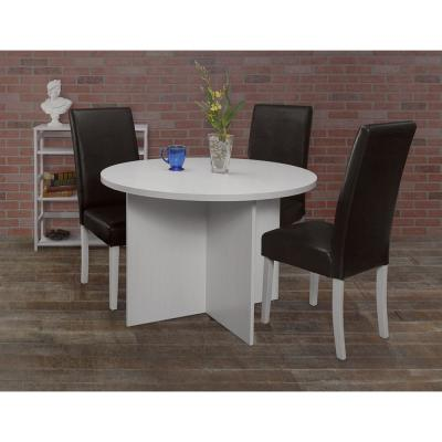 Mod White Wood Grain 42 in. Round Table
