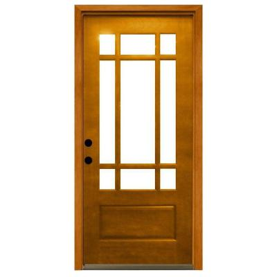 36 in. x 80 in. Craftsman 9 Lite Stained Mahogany Wood Prehung Front Door