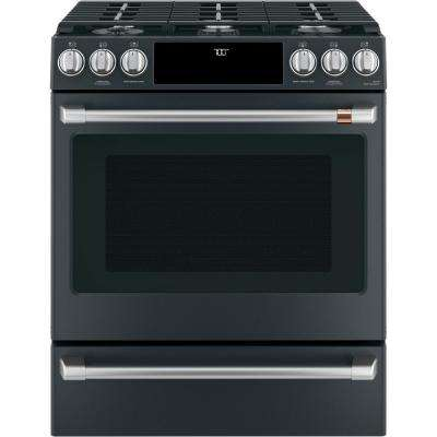 30 in. 5.6 cu. ft. Smart Gas Range with Self-Clean Oven in Matte Black, Fingerprint Resistant
