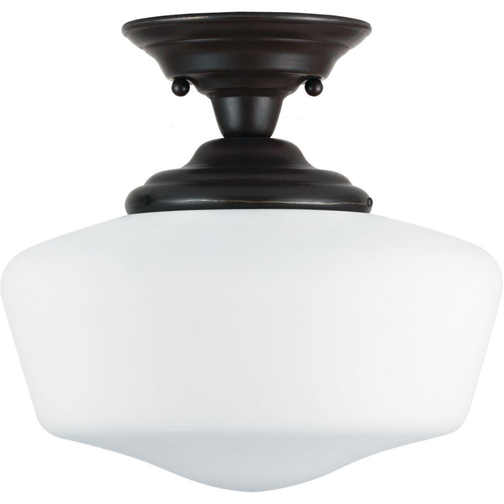 Academy 1-Light Heirloom Bronze Semi-Flush Mount Light