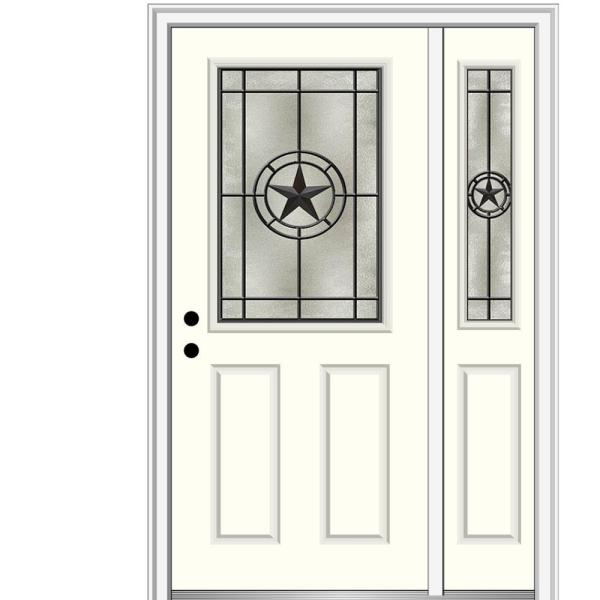 Mmi Door Elegant Star 53 In X 81 75 In 1 2 Lite Decorative Glass Alabaster Painted Fiberglass Prehung Front Door Z03745612r The Home Depot