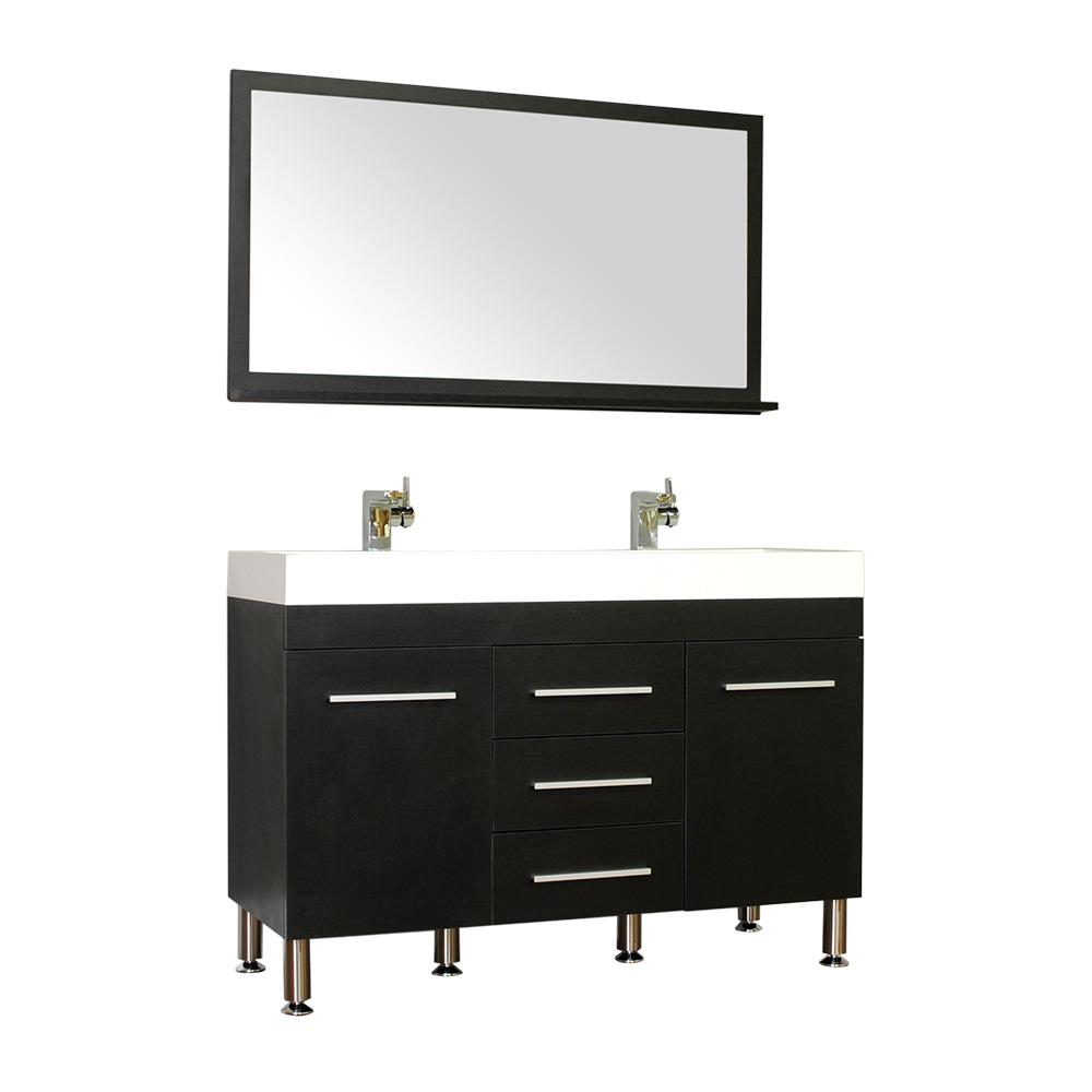 Ripley 47 in. W x 18.75 in. D x 33.37 in. H Vanity in Black with Acrylic Vanity Top in White with White Basin
