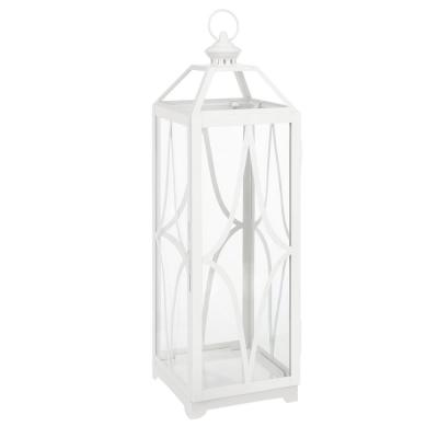 30 in. White Metal and Glass Outdoor Patio Lantern