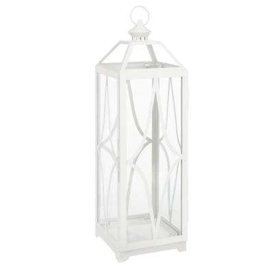 30 in. Metal and Glass Lantern in White