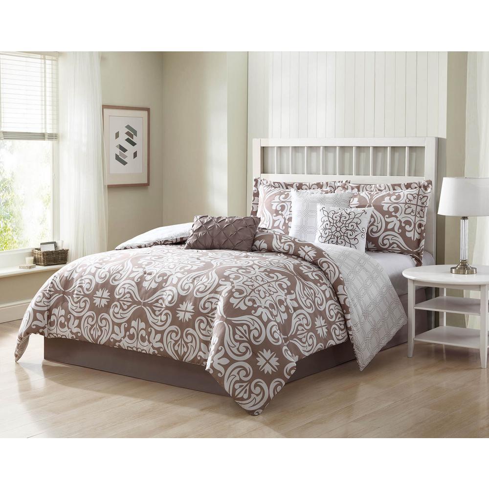 Helena 7-Piece Mocha Reversible Full/Queen Comforter Set
