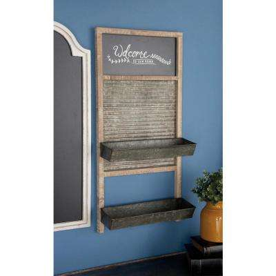 6 in. L x 16 in. W Rustic Iron and Wood Shelf with Memo Board