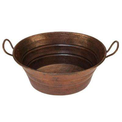 Oval Bucket Hammered Copper Vessel Sink with Handles in Oil Rubbed Bronze