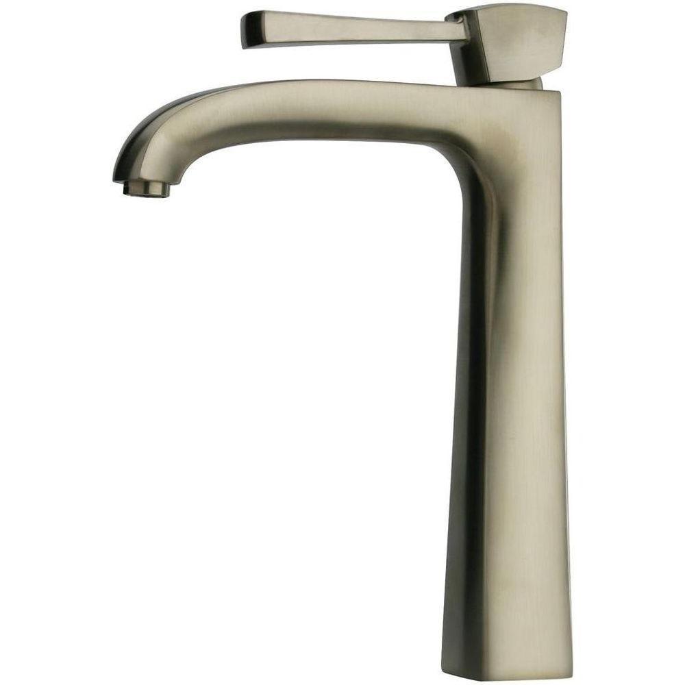 Lady Single Hole Single-Handle High-Arc Vessel Bathroom Faucet in Brushed Nickel