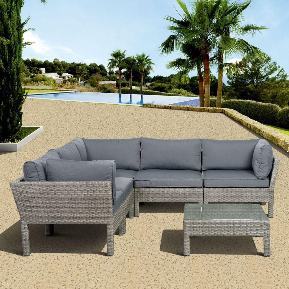 Atlantic Contemporary Lifestyle Infinity Gray 6-Piece All-Weather Wicker Patio Seating Set with Gray Cushions